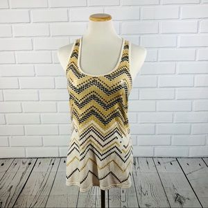 Almost Famous Cream & Gold Sequin Tank - Large
